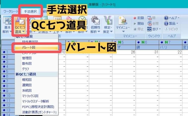 「手法選択」→「QC七つ道具」→「パレート図」