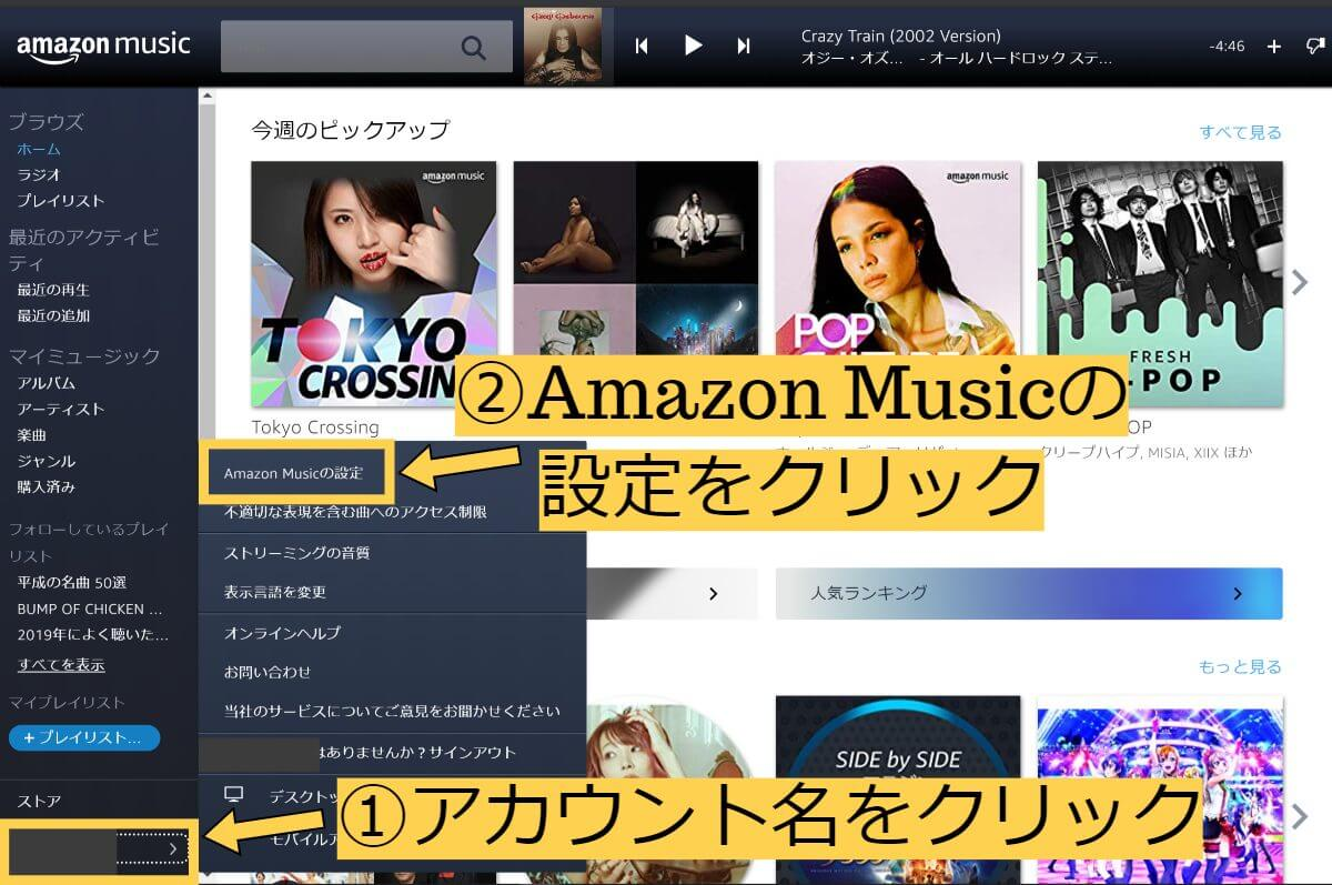 Amazon Music setting