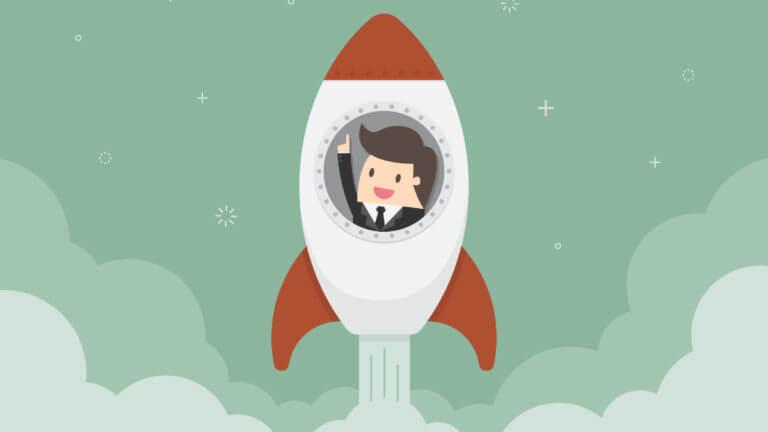 ロケットに乗るビジネスマン