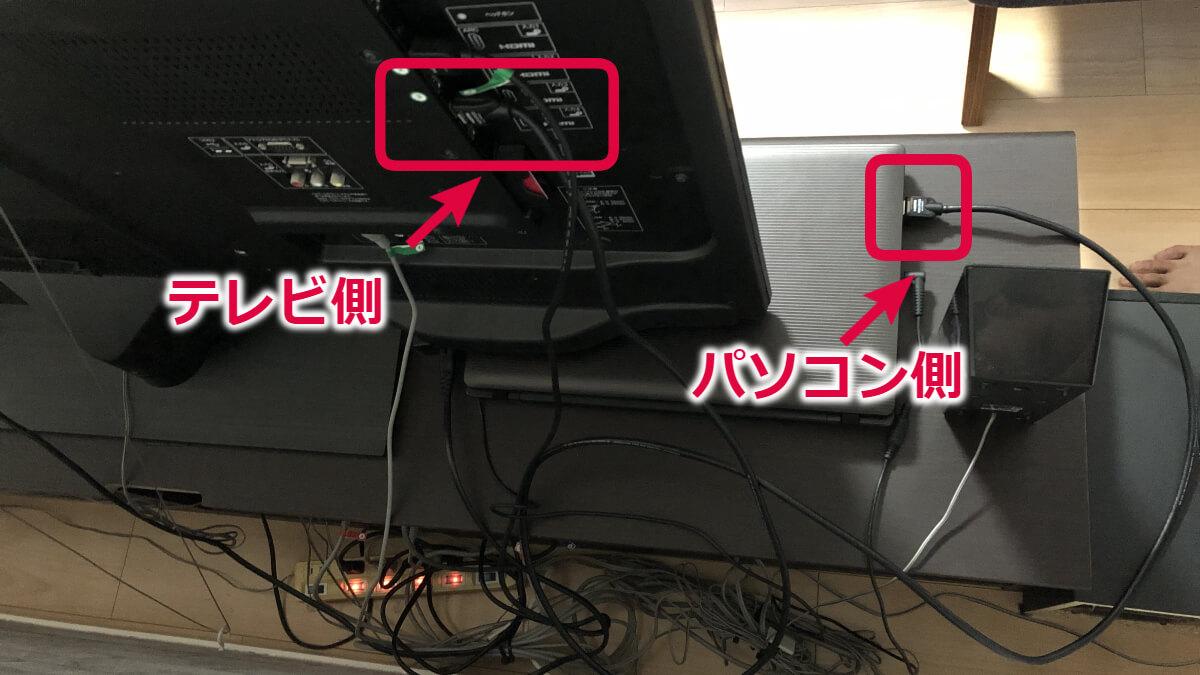 テレビとパソコンの接続状態